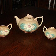 Hull Art Pottery Water Lily 5 Pc Tea Set Matte Glaze Teapot Sugar Creamer L18 L19 L20