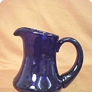 SALE Cambridge Glass Cream Pitcher Cobalt Glass Royal Blue Elegant Depression Blown Art Glass