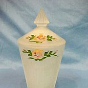 SALE Depression Glass Satin Art Glass Covered Vase Jar Hand Painted Flowers