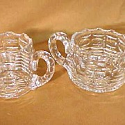 SALE American Brilliant Cut Class Creamer & Sugar Superb!