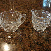 Fostoria Glass American 2 �� Creamer And 2 �� Sugar Set Free Shipping