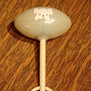 Heirloom Celluloid Baby Puppy Dog Rattle Toy 1920-1930 Free Shipping