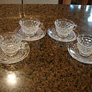 Fostoria Glass American 4 Coffee Cups & Saucers Sets Free Shipping