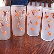 4 Libbey Tumblers Frosted Glasses for Hall China Jewel Tea Autumn Leaf  Free Shipping