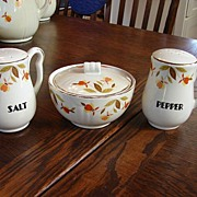 Hall China Jewel T Autumn Leaf Range Set Drip Bowl W/ Lid Salt & Pepper Shakers NM/M Free Ship