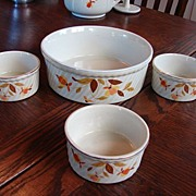 Hall China Jewel Tea Autumn Leaf Open Casserole French Baker & 3 small Souffle Bakers  Hall ..