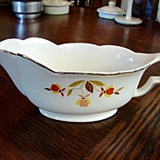 Hall China Jewel Tea Autumn Leaf Gravy Boat Plate NM Free Shipping