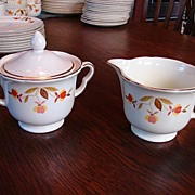 Hall�s China Jewel Tea Autumn Leaf  Lidded Sugar Bowl With Creamer Free Shipping