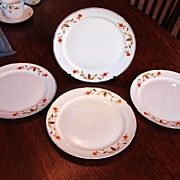 Hall�s China Jewel Tea Autumn Leaf Set of 4 Luncheon Breakfast Plates Free Shipping