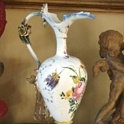 SALE Monumental Ewer Pitcher Vase Hand Painted Faience Majolica Rococo Mid18th Century Contine