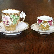 Presentation Exquisite Prussia Germany Antique Rococo Porcelain China 2 Cups & Saucers Shippin