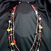 SALE Middle East Glass Beads 3 String Necklace Lamp Wound, Disc Beads, Decorated, Melon, Super