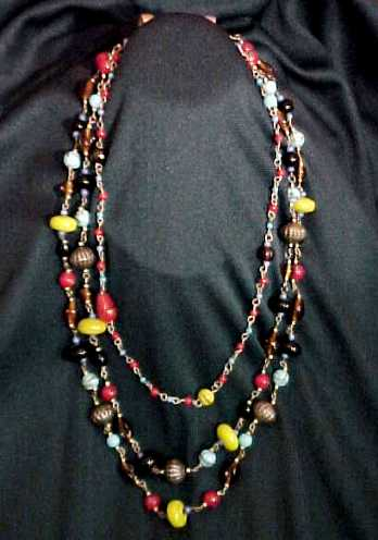 Middle East Glass Beads 3 String Necklace Lamp Wound, Disc Beads, Decorated, Melon, Superb!