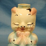 SALE Hull Art Pottery Leeds Glossy Pig Liquor Decanter Pitcher Bottle 1940s