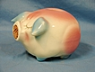 Hull USA Art Pottery Corky Pig Piggy Bank 1957 Pink Blue Glossy