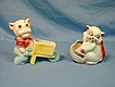 2 Hull Art Pottery Planters Pig Wheelbarrow and Kitten Planter Glossy