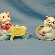 SALE 2 Hull Art Pottery Planters Pig Wheelbarrow and Kitten Planter Glossy