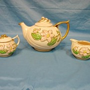 Hull Art Pottery Tea Set Teapot Covered Sugar Creamer Magnolia Glossy Pattern Rare