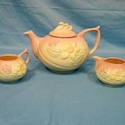 Hull Art Pottery Tea Set Teapot Sugar Creamer Magnolia Matte Pattern