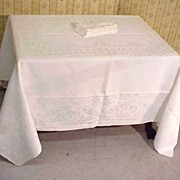 SALE Damask Linen Banquet Tablecloth + Napkins Set Grape Heirloom