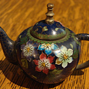 Cabinet Miniature Antique Cloisonn� Chinese Teapot Child Lg Dollhouse Size