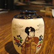 Antique Japanese Satsuma Vase Cabinet Miniature Pottery