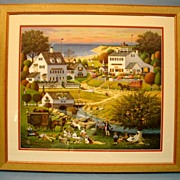 SALE Charles Wysocki Limited Edition Print Hound of Baskervilles Lithograph Custom Frame & Gla