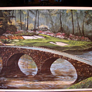 "Sports Golf Art  Jason Denaro Limited Edition Print ""12th Augusta (Golden Bell) Par 3 155"