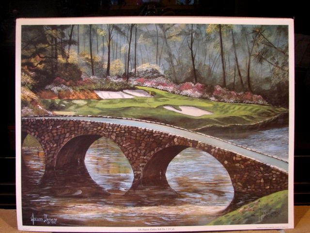 "Sports Golf Art  Jason Denaro Limited Edition Print ""12th Augusta (Golden Bell) Par 3 155 yards""  Famous Golf Courses Scarce Artist Proof"