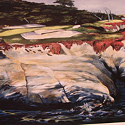 "Sports Golf Art Jason Denaro Limited Edition Print ""Harbor Seals 15th at Cypress Point (M"