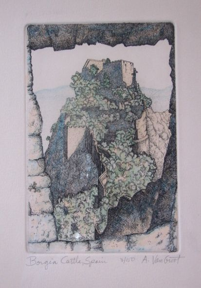 "Fine Art Limited Edition Vintage Print ""Borgia Castle Spain"" Andors Van Groot"