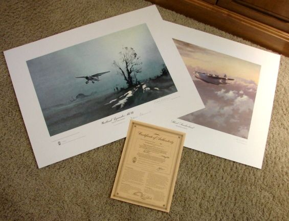 Set Aviation WWII Limited Edition Prints John Young &quot;Evening Patrol&quot; & Denis Pannett &quot;Night Operations&quot; & COA 1979 British Spy signed