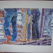 "Sandy Delehanty Limited Edition Watercolor  Rodeo Jeans Print ""Bronco Bustin Buns"""