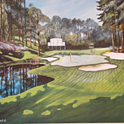 "Sports Golf Art Jason Denaro Limited Edition Print ""16th Augusta (Red Bud) Par 3 170 yard"