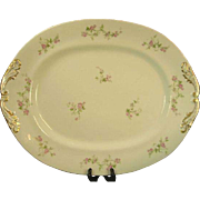 SALE M. Redon Limoges Extra Large Serving Platter, Pink Roses