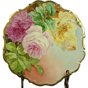 Limoges Porcelain Flambeau Huge Roses Charger Plate, Early 1900's, Artist Signed, Factory Deco