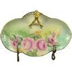 Lavish Roses Limoges Porcelain Split Handle Bonbonniere, Gold Trim, Artist Signed