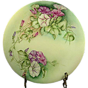 "1890's C. Martin Limoges 11 3/4"" Charger with Petunias, Gold Trim"