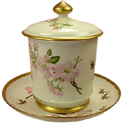 Redon/Delinieres Limoges Condiment Jar and Underplate, Pink Roses & Bees