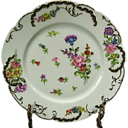 19th C Hand Painted T Haviland Limoges Floral & Gilt Plate