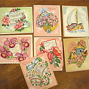 Boxed Set of 7 3 Dimensional Greeting Cards 1950s