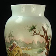 Large Opal Glass Vase, Hand Painted Country Scene