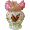 Victorian Pink Ruffled Rim Vase, Hand Painted, Butterfly
