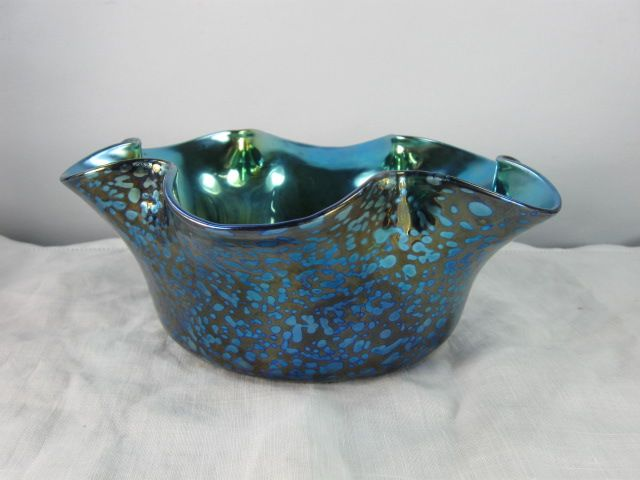 Loetz Cobalt Papillon Crimped Rim Bowl