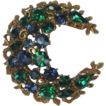 Vintage Coro Green and Blue Rhinestone Crescent Brooch