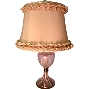 Vintage 40s Cottage Chic Pink w Roses Lamp
