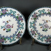 Pair Charles Meigh Gothic Polychrome Dinner Plates, c 1850