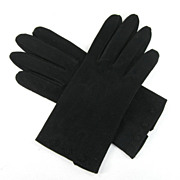 Pair Vintage Fownes Doette Black Gloves with Hem Embroidery