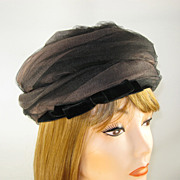 Vintage Charmette New York Brown & Black Net Hat with Velvet Trim