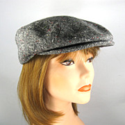 Vintage Newsboy Cap Hat, Wool Tweed
